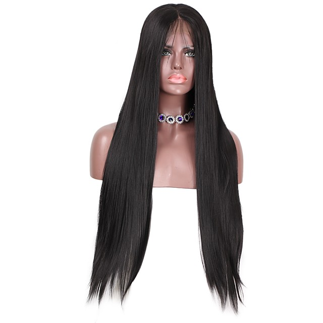 Synthetic Extentions Straight Layered Haircut Lace Front Wig Long Natural Black Synthetic Hair Women's Women Extention Black