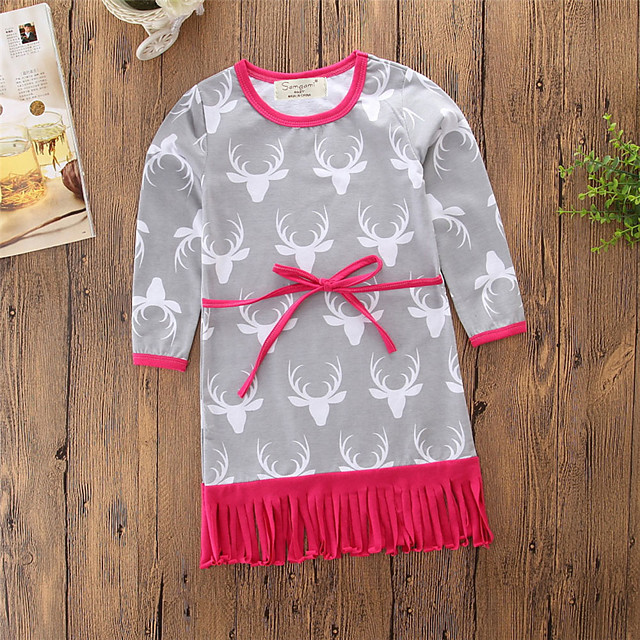 Baby Girls' Vintage / Active Daily / Holiday Print Tassel / Print Long Sleeve Above Knee / 50-60 cm Dress Gray / Toddler