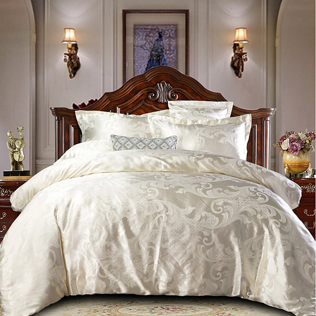 Duvet Cover Sets Luxury Polyster Jacquard Ultra Soft Sliver 4 Piece Bedding Set With Pillowcase Bed Linen Sheet Single Double Queen King Size Quilt