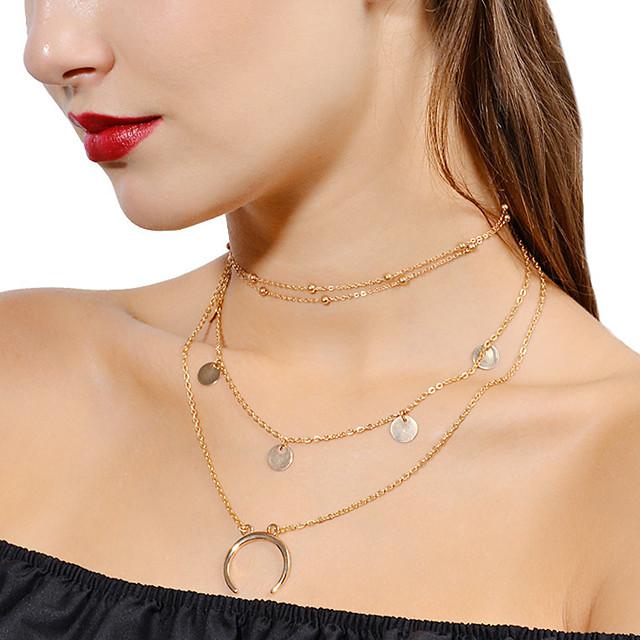 gold stuffed choker necklace personalizable necklace Heart necklace multi-row necklace