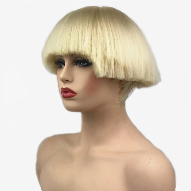 Cosplay Costume Wig Synthetic Wig Straight Kardashian Bob Wig Short Bleach Blonde#613 White Natural Black Red Synthetic Hair Women's Synthetic Black White StrongBeauty