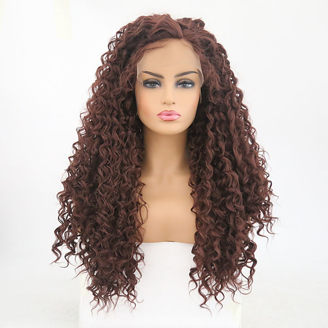 Synthetic Lace Front Wig Curly Side Part Lace Front Wig Long Dark Auburn#33 Synthetic Hair Women's Heat Resistant Brown