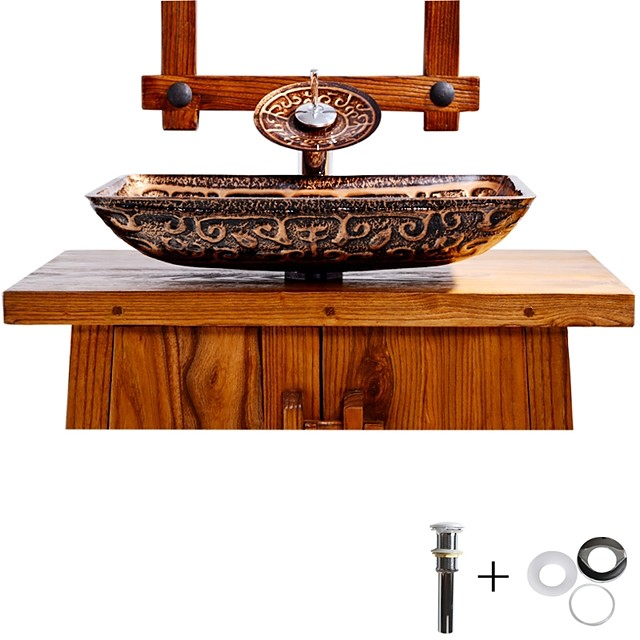 Bathroom Sink Faucet Suit Contain with Zinc Alloy Bathroom Mounting Ring Antique Tempered Glass Rectangular Vessel Sink and Brass Water Drain