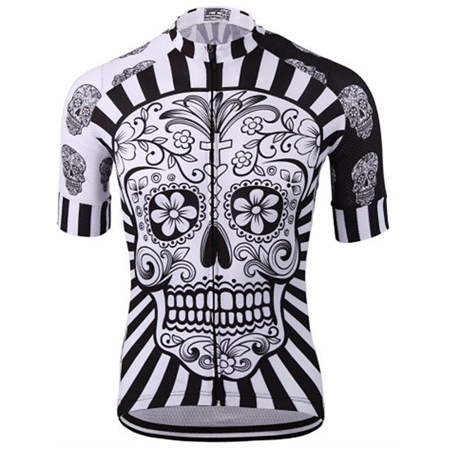 21Grams Men's Short Sleeves Cycling Jersey Red / White Yellow Blue Skull Bike Jersey Mountain Bike MTB Road Bike Cycling Breathable Quick Dry Anatomic Design Sports Clothing Apparel / Micro-elastic