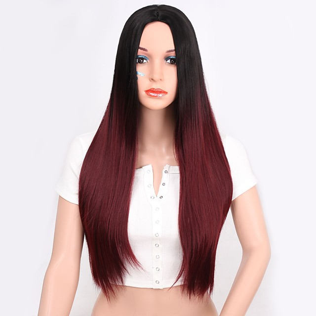Wig Accessories Straight Layered Haircut Wig Burgundy Long Black / Red Synthetic Hair Women's Women Synthetic Burgundy