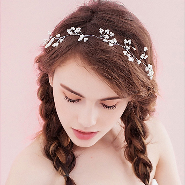 Women's Headbands For Party Ceremony Criss Cross Crystal Fabric Alloy White