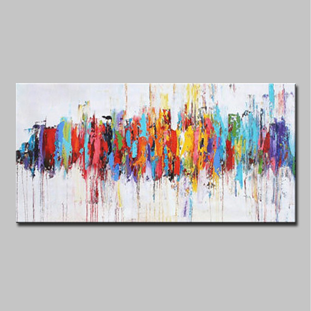 Oil Painting Hand Painted - Abstract / Pop Art Modern Canvas