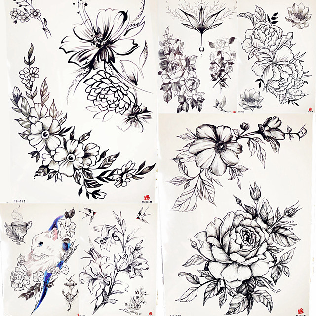 5 pcs Temporary Tattoos Smooth Sticker / Safety Body / brachium / Shoulder Card Paper / Decal-style temporary tattoos
