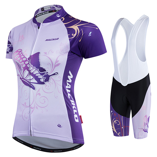 Malciklo Women's Cycling Jersey with Shorts Coolmax® Polyester White Black Butterfly Bike Jersey Padded Shorts / Chamois Clothing Suit Sports Butterfly Mountain Bike MTB Road Bike Cycling Clothing