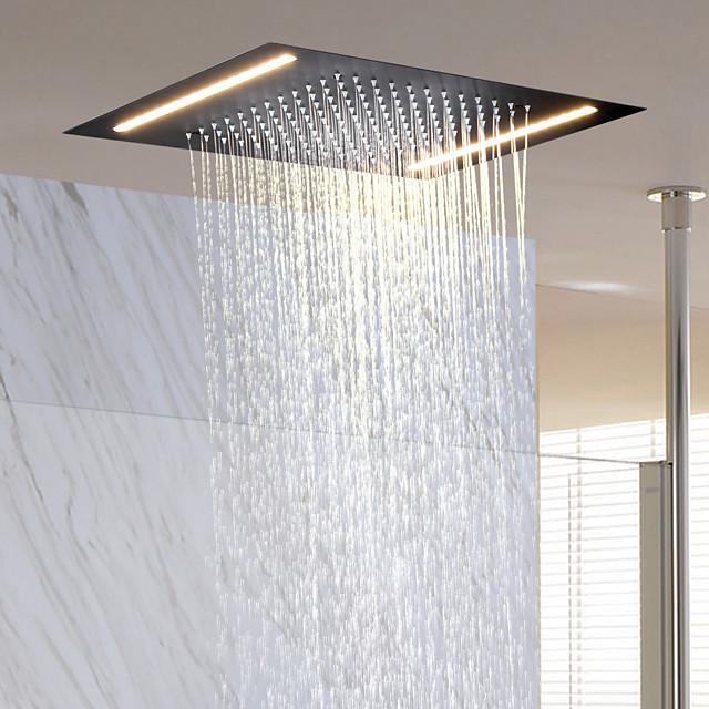 douche à effet pluie contemporaine rectangulaire, jet de massage au plafond en acier inoxydable