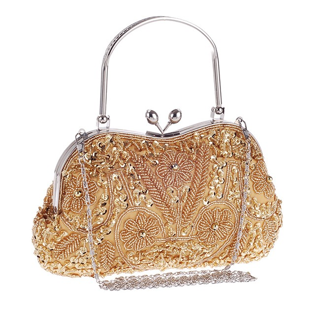 Women's Bags PU Leather Polyester Evening Bag Beading Embroidery Glitter Shine Party Wedding Event / Party Evening Bag Wedding Bags Handbags Black Blue Purple Champagne