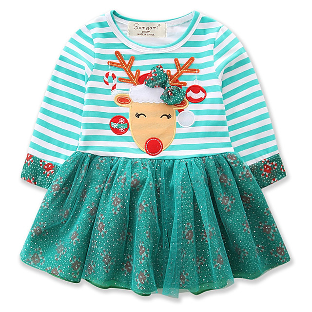 Baby Girls' Active / Street chic Christmas / Daily / Holiday Print / Christmas Embroidered Long Sleeve 50-60 cm Dress Light Blue / Toddler