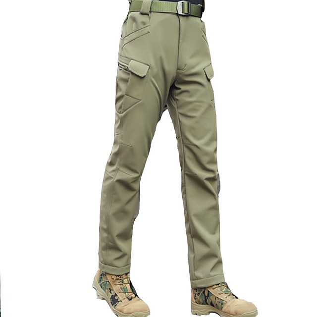Men's Hiking Pants Softshell Pants Solid Color Outdoor Breathable Quick Dry Wear Resistance Softshell Cotton Pants / Trousers Bottoms Army Green Hiking Outdoor Exercise Multisport S M L XL XXL