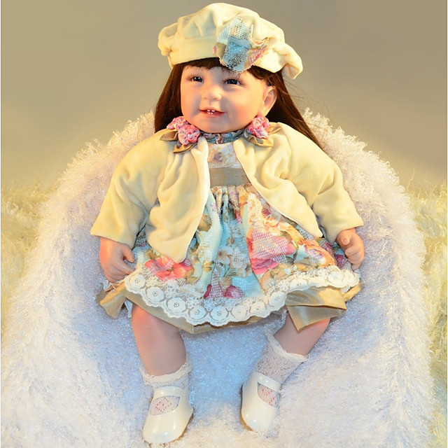 FeelWind Reborn Doll Baby Girl 22 inch lifelike, Artificial Implantation Blue Eyes, High-Temperature Resistant Fibre Wigs Kid's Girls' Gift