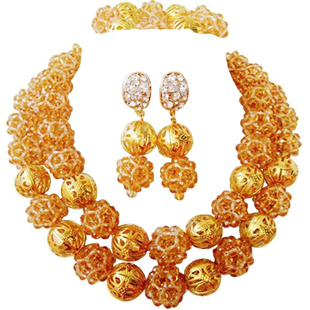 Women's Beaded Necklace Layered Moon Ladies Fashion African Austria Crystal Earrings Jewelry Blue / Hot Pink / Champagne For Wedding Party