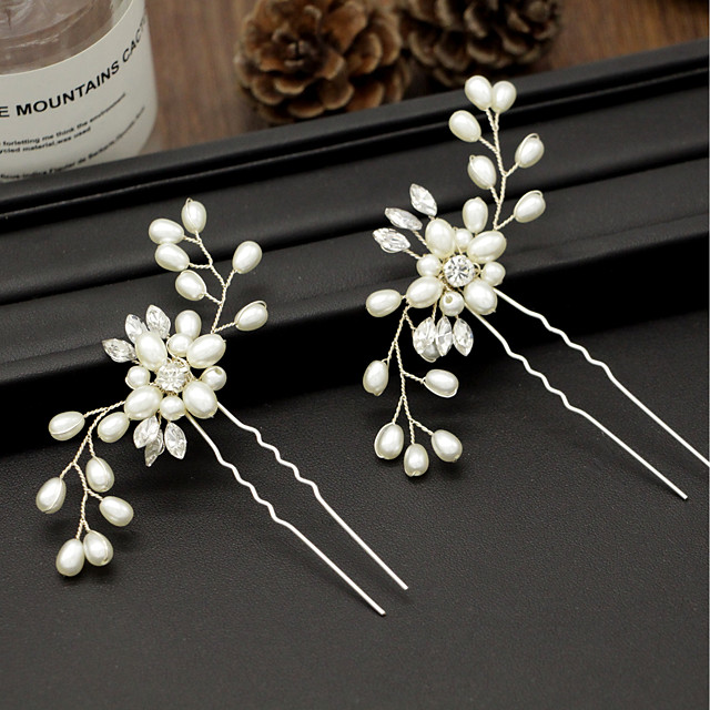Women's Hair Sticks For Party Ceremony Criss Cross Crystal Fabric Alloy Gold Silver