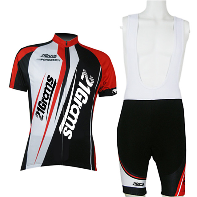 21Grams Men's Unisex Short Sleeve Cycling Jersey with Bib Shorts Red / White Bike Clothing Suit Breathable Moisture Wicking Quick Dry Sports Polyester Mountain Bike MTB Road Bike Cycling Clothing