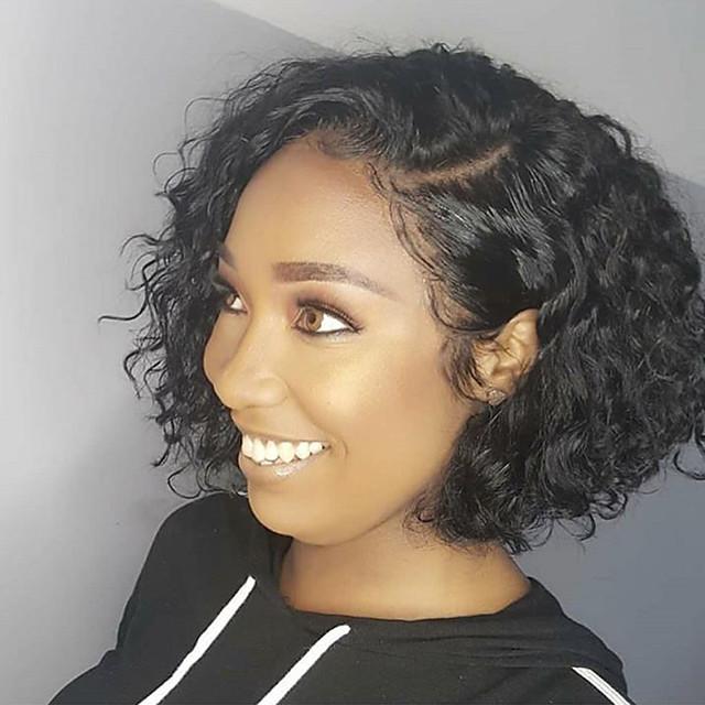 Remy Human Hair Lace Front Wig Bob Kardashian Style Brazilian Hair Water Wave Natural Black Wig