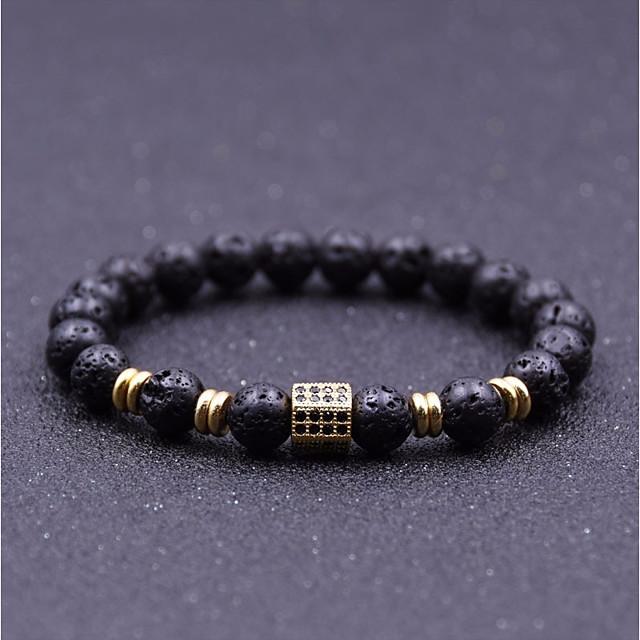 Men's Cubic Zirconia Natural Stone Bead Bracelet Stylish Beads Creative Chakra Stylish Vintage Casual / Sporty equilibrio Rhinestone Bracelet Jewelry Rose Gold / Black / Gold For Street Daily