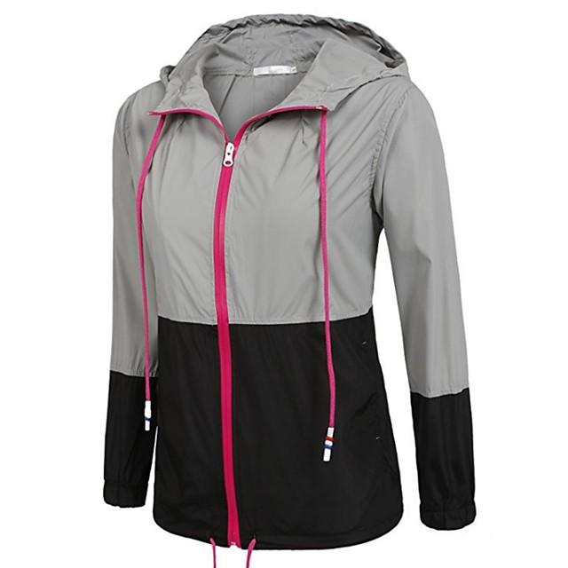 Women's Hiking Raincoat Hiking Windbreaker Summer Outdoor Patchwork Lightweight UV Resistant Rain Waterproof Quick Dry Jacket Top Spandex Single Slider Camping / Hiking / Caving Travel Black / Blue
