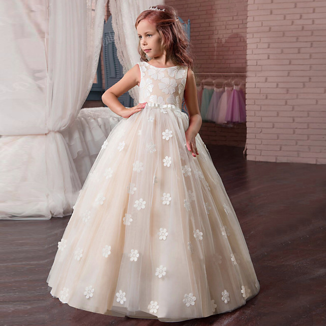 Kids Little Girls' Dress Floral Tulle Dress Party Holiday Easter Backless Mesh Print White Purple Blushing Pink Maxi Sleeveless Vintage Sweet Dresses Fall Spring Regular Fit