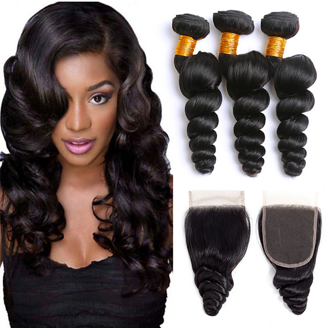 3 Bundles with Closure Hair Weaves Indian Hair Loose Wave Human Hair Extensions Remy Human Hair 100% Remy Hair Weave Bundles 345 g Natural Color Hair Weaves / Hair Bulk Human Hair Extensions 8-24 inch