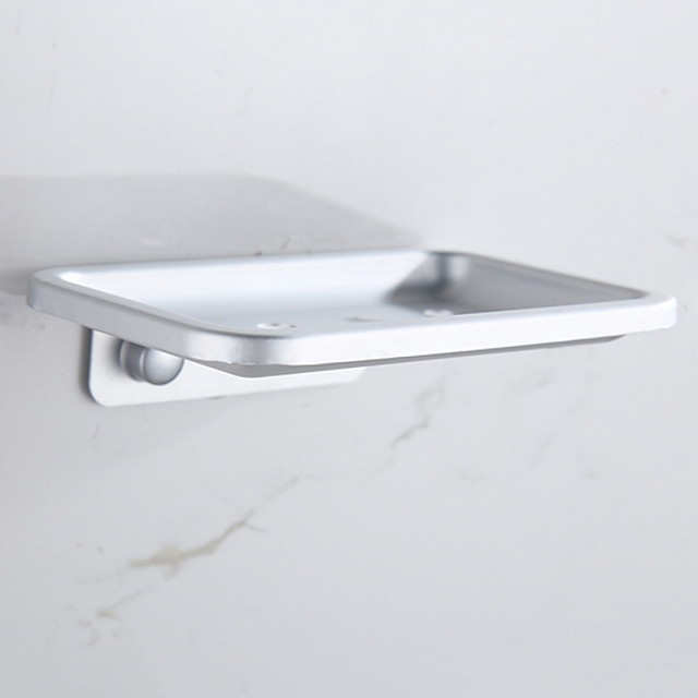 Soap Dishes Holders Hollow New Design Aluminum Wall Mounted Silvery 1pc