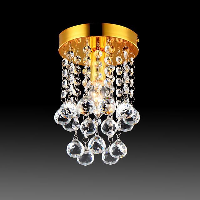 23 cm Semi Flush Mount Ceiling Light Modern LED Crystal Chandelier Chrome 1-Light Dining Room Bedroom Ceiling Lamp