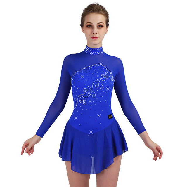 Figure Skating Dress Women's Ice Skating Dress Royal Blue Stretchy Training Competition Skating Wear Quick Dry Anatomic Design Classic Long Sleeve Ice Skating Outdoor Exercise Figure Skating / Kid's