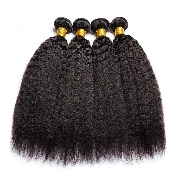 4 Bundles Hair Weaves Brazilian Hair Yaki Human Hair Extensions Human Hair 400 g Natural Color Hair Weaves / Hair Bulk Extension Bundle Hair 8-28 inch Natural Natural Color 100% Virgin / 8A