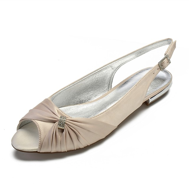 Women's Wedding Shoes Plus Size Flat Heel Peep Toe Comfort Slingback Wedding Party & Evening Rhinestone Side-Draped Solid Colored Satin White / Black / Purple