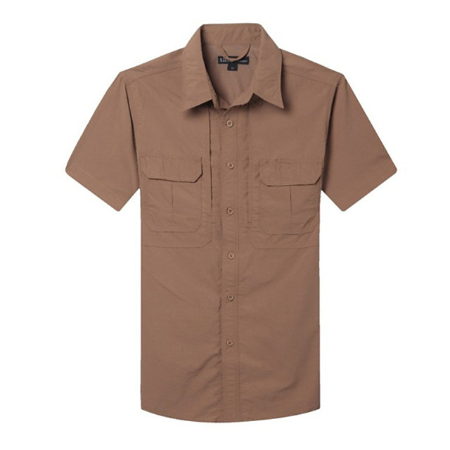 Men's Hiking Shirt / Button Down Shirts Short Sleeve Outdoor Waterproof Sunscreen UV Resistant Breathable Shirt Top Summer Lycra Ice Silk Camping / Hiking Casual Outdoor Exercise Grey Khaki Green