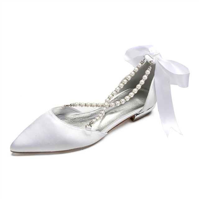 Women's Wedding Shoes Lace up Flat Heel Pointed Toe Rhinestone / Bowknot / Imitation Pearl Satin Spring & Summer Purple / Yellow / Red / Party & Evening