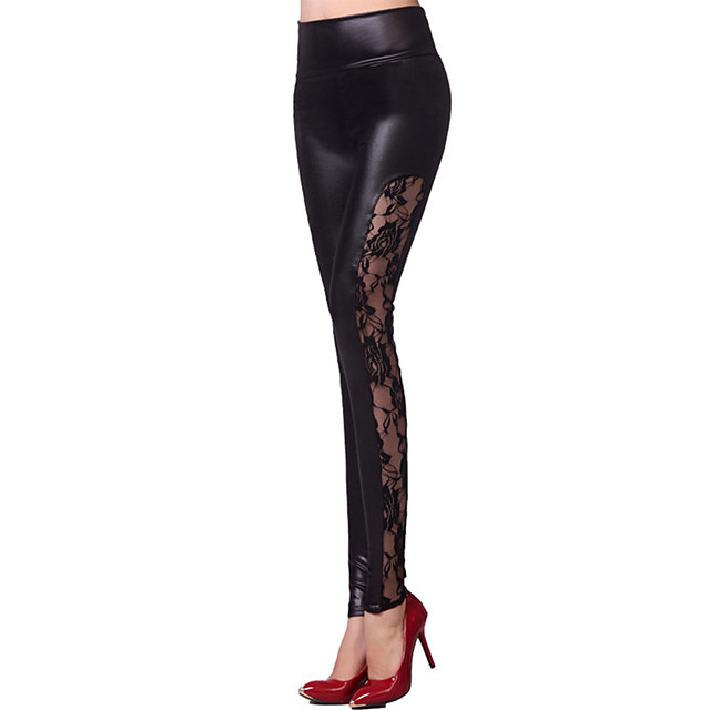 Latin Dance Pants Lace Split Joint Women's Training Performance High PU Charmeuse