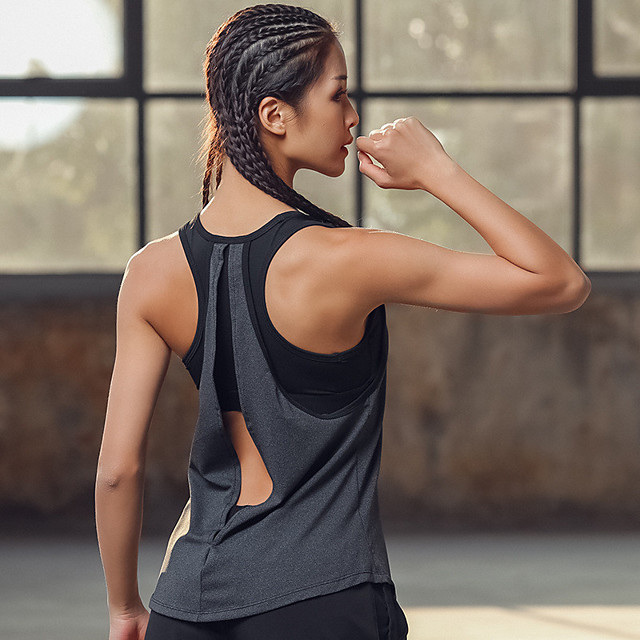Women's Sports Bra Summer 2 in 1 Open Back Fashion Grey Fitness Gym Workout Running Tank Top Sleeveless Sport Activewear High Impact Quick Dry Moisture Wicking Lightweight Breathable Stretchy