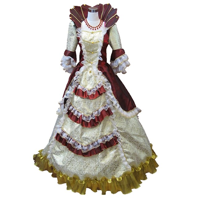 Princess Rococo Renaissance 18th Century Dress Party Costume Masquerade Ball Gown Women's Costume Black / Red and White / Red+Golden Vintage Cosplay Party Prom Half Sleeve Floor Length Long Length