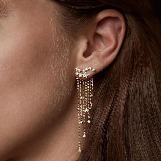 Women's Crystal Cubic Zirconia tiny diamond Drop Earrings Dangle Earrings Drop Creative Star Ladies Elegant Fashion Imitation Diamond Earrings Jewelry Gold / Silver For Wedding Party / Evening