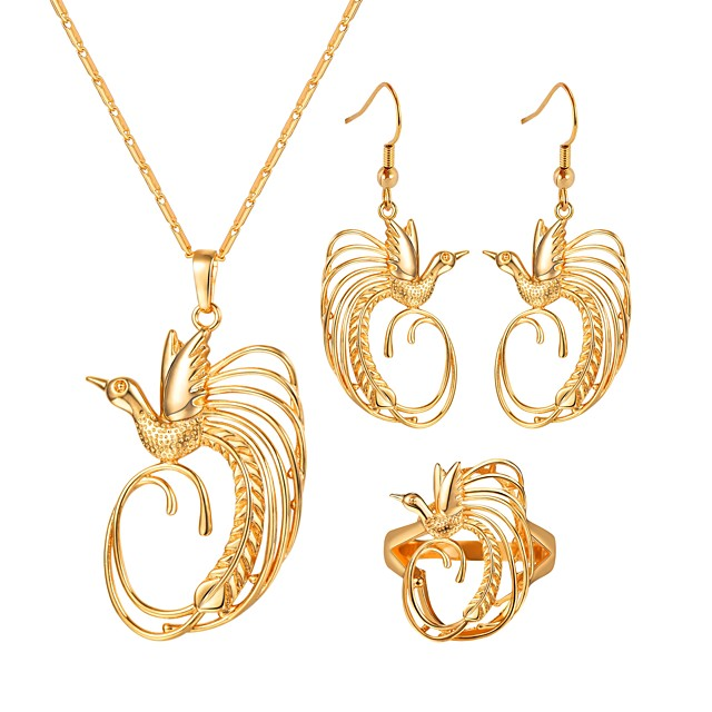 Women's Hoop Earrings Pendant Necklace Ring Hollow Out Bird Ladies Vintage Earrings Jewelry Gold For Gift Daily