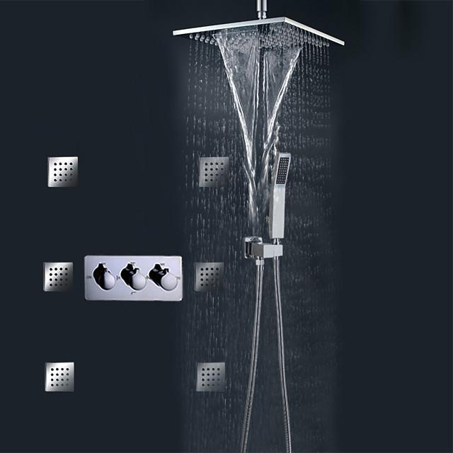 Набор для душа Устанавливать - Дождевая лейка Современный Хром На стену Керамический клапан Bath Shower Mixer Taps / Латунь