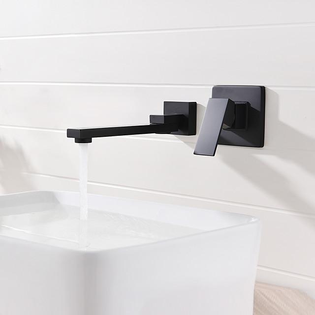 Bathroom Sink Faucet - Widespread /  Design Black Wall Mounted Single Handle Two HolesBath Taps