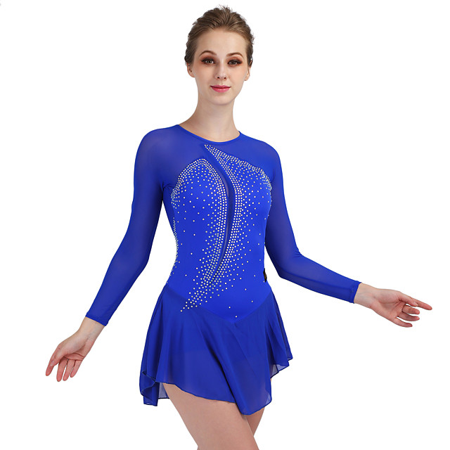Figure Skating Dress Women's Ice Skating Dress Royal Blue Stretchy Training Competition Skating Wear Quick Dry Anatomic Design Classic Sexy Long Sleeve Ice Skating Outdoor Exercise Figure Skating
