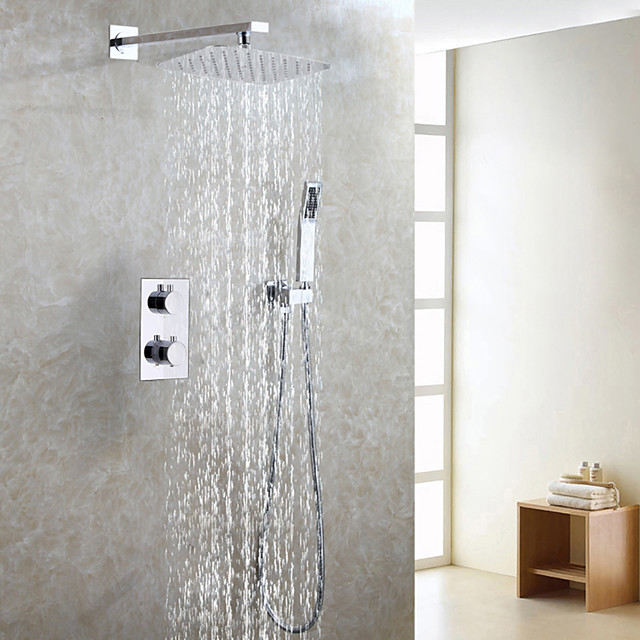 Contemporary Thermostat Shower Faucet Set / Air Drop Water Saving Bath Rain Shower Head / Bathroom Mixer Valve / Hand Shower Included / Chrome Bath Shower Mixer Taps