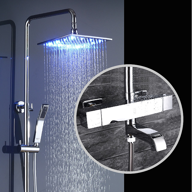 Shower Faucet - Contemporary Chrome Wall Mounted Brass Valve Bath Shower Mixer Taps / Single Handle Three Holes