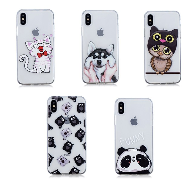 Case For Apple iPhone X / iPhone 8 Plus / iPhone 8 Transparent Back Cover Animal Soft TPU