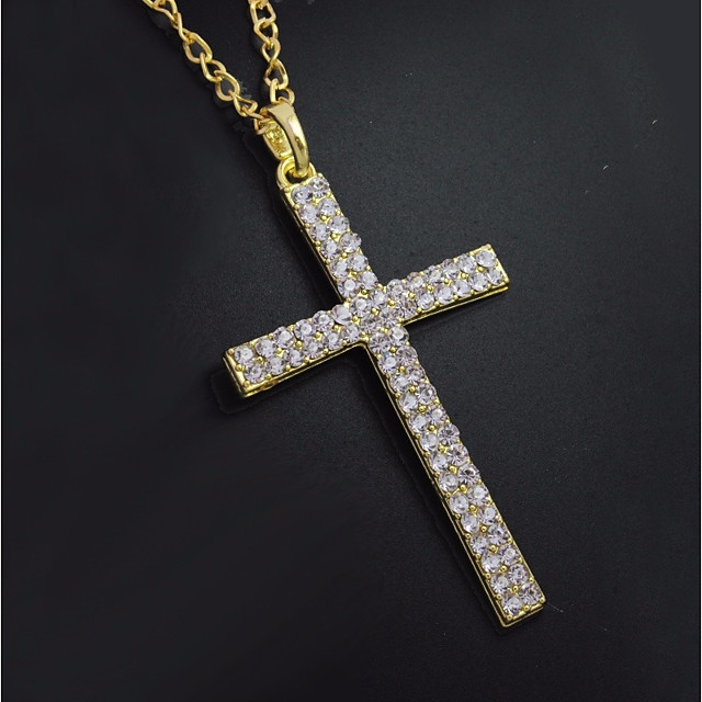 Men's Cubic Zirconia tiny diamond Pendant Necklace Chain Necklace Classic Cuban Link Cross Stylish Classic Trendy Rhinestone Alloy Gold 60 cm Necklace Jewelry 1pc For Street Festival