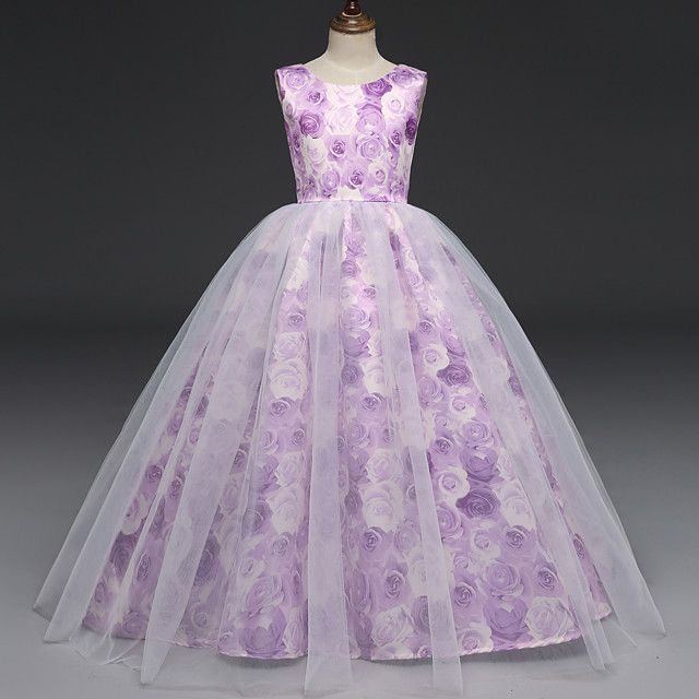 Princess Dress Flower Girl Dress Girls' Movie Cosplay A-Line Slip Cosplay Light Purple Dress Halloween Carnival Masquerade Tulle Polyester