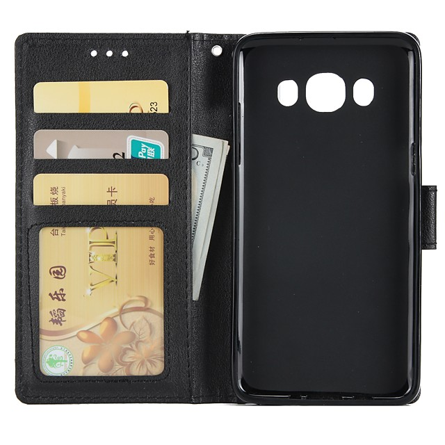 Case For Samsung Galaxy J7 (2016) / J5 (2016) / J3 (2016) Wallet / Card Holder / with Stand Full Body Cases Solid Colored Hard PU Leather