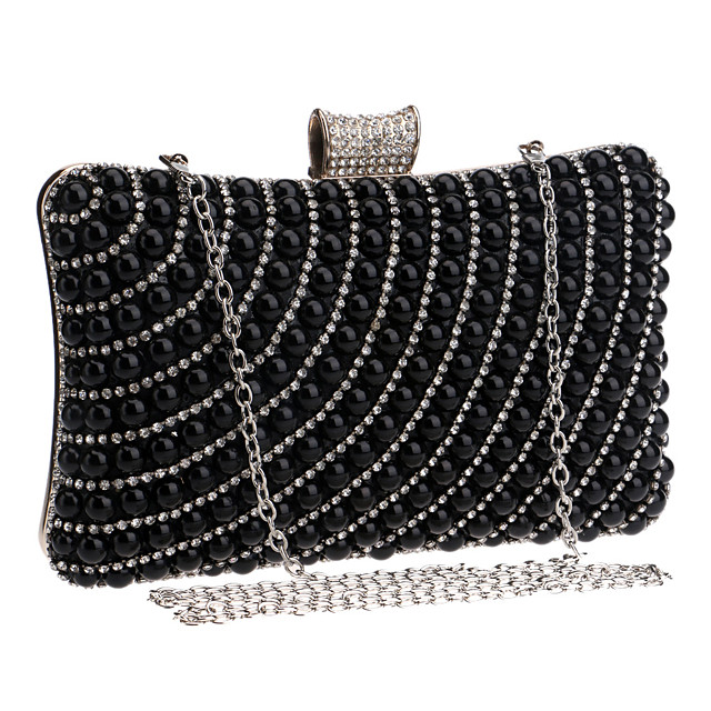 Women's Crystals / Pearls Polyester / Alloy Evening Bag Striped Black / Gold / Silver