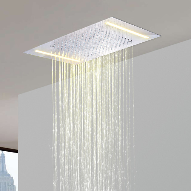 500*360 Chrome Shower Faucets Rain Mixer Complete with 304 Stainless Steel LED Shower Head Ceiling Mounted, Luxury Rainfall Shower Head System 110V~220V Alternating With Energy Saving LED Lampsmps
