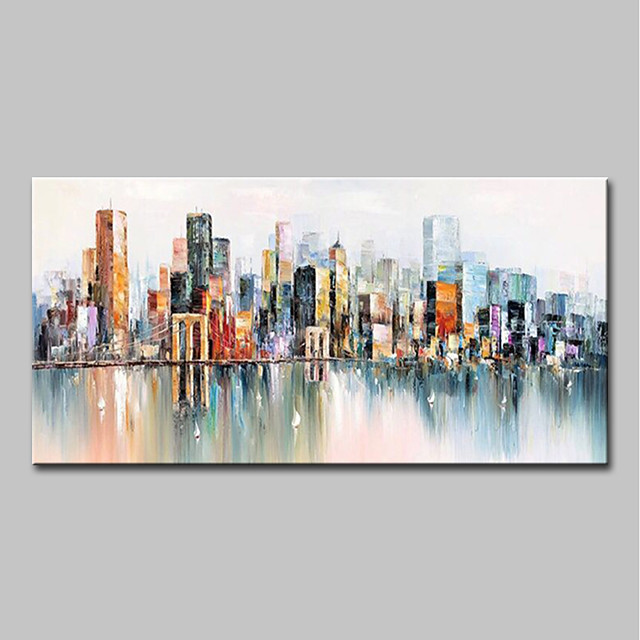 Oil Painting Hand Painted Abstract / Landscape Modern Canvas Rolled Without Frame